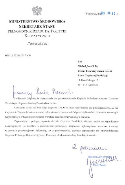 Pismo z Ministerstwa Środowiska - Nowy Przewodniczący Kapituły PRCPiOP