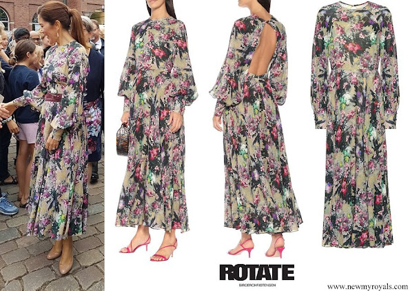 Crown Princess mary wore a new wild flower maxi dress by Rotate Birger Christensen
