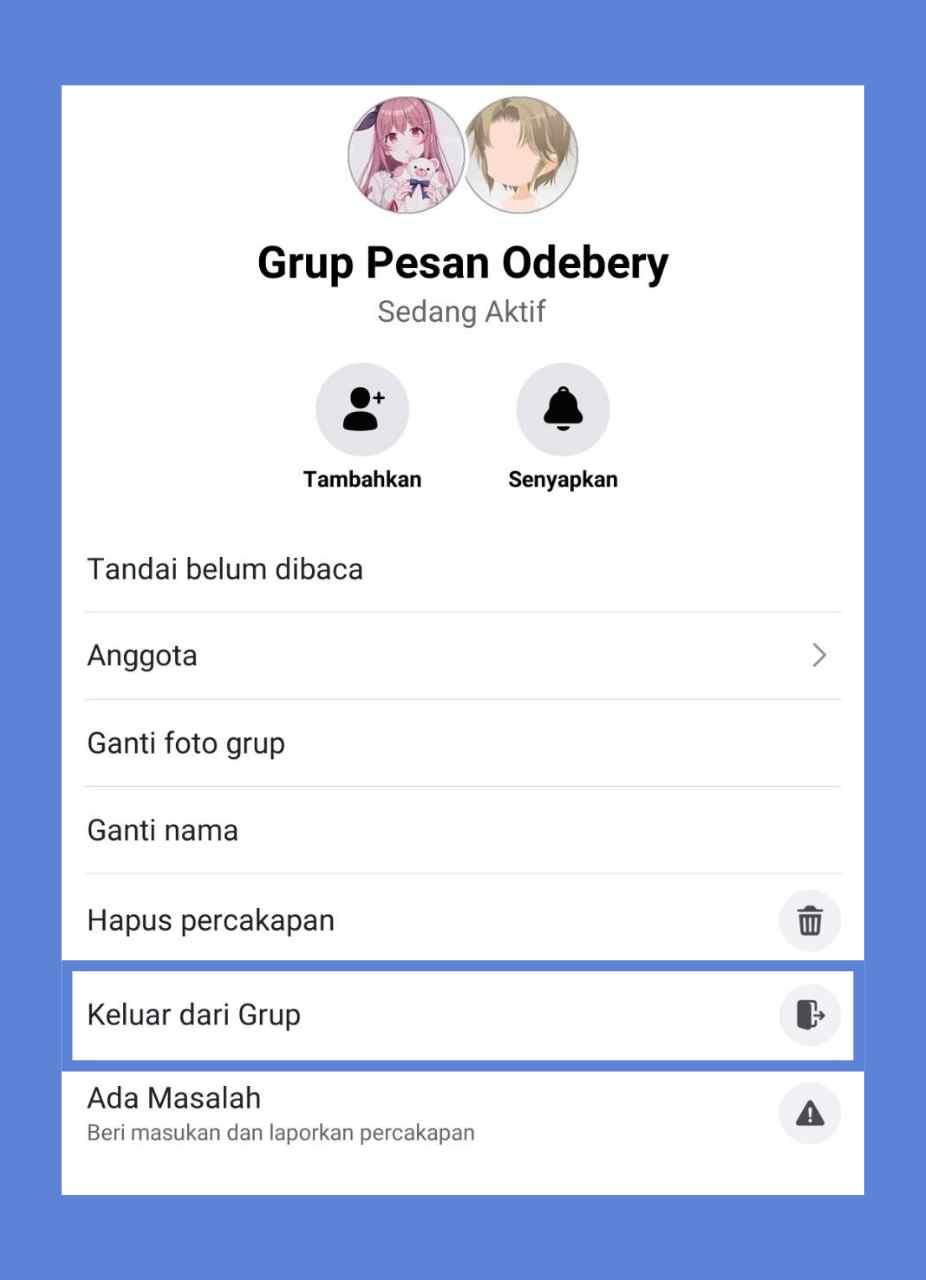cara keluar dari grup chat facebook