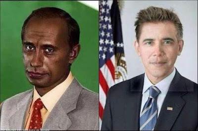Lustige Vergleichsbilder Politiker schwarze und weiße Menschen tauschen Hautfarbe