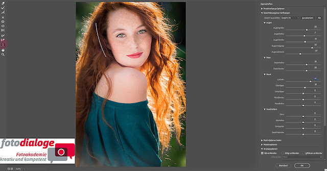 Ein neues Verflüssigen-Filter-Tool von Adobe Photoshop CC, das Gesichtswerkzeug.