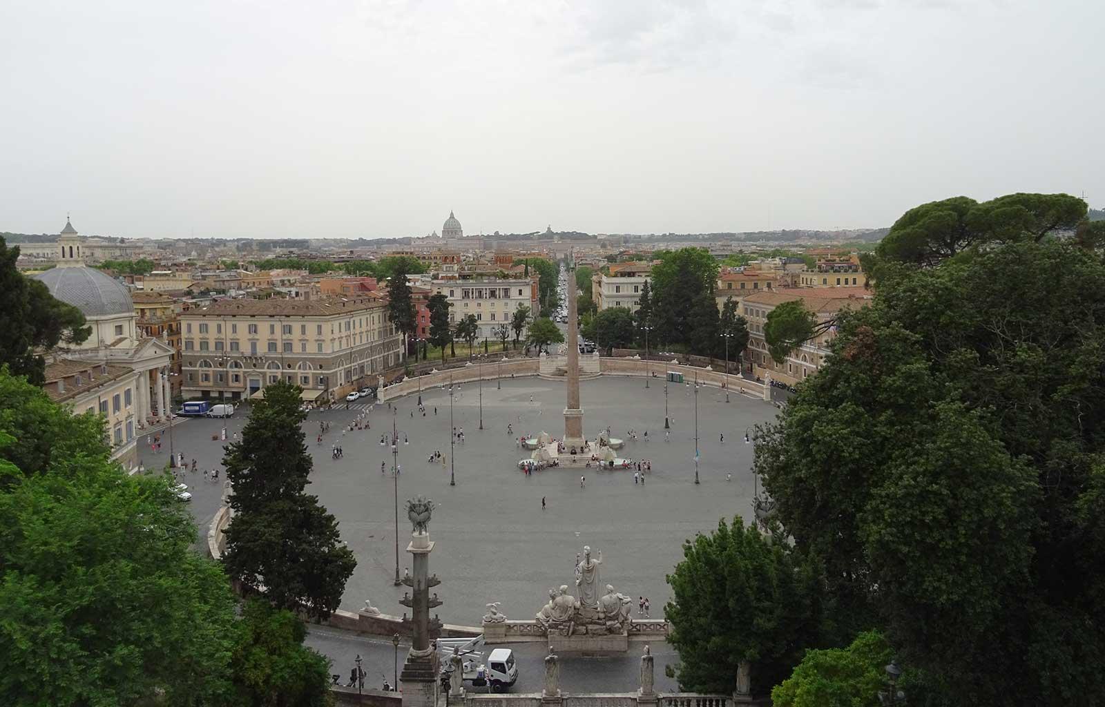 Voyage Italie Rome Vue sur la Piazza Del Popolo depuis la terrasse du Pincio