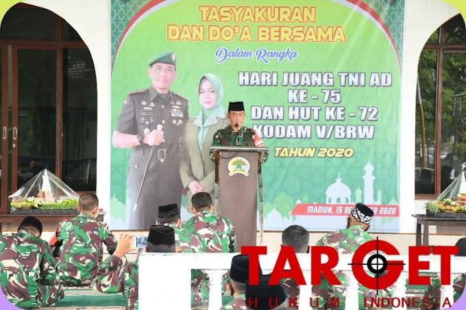 Korem 081/DSJ Gelar Tasyakuran dan Doa Bersama Hari Juang TNI AD ke-75 dan HUT ke-72 Kodam V Brawijaya