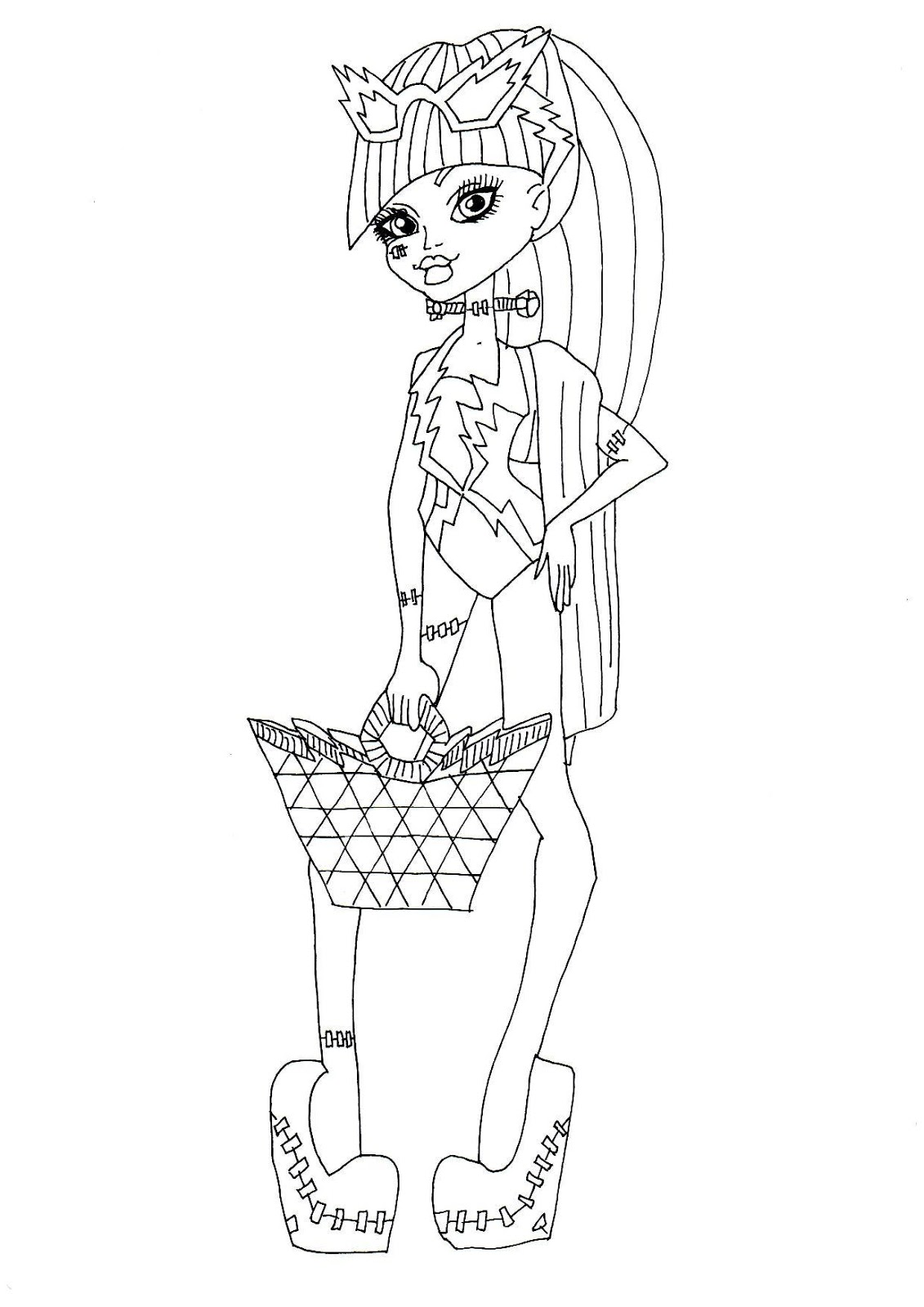 Free Printable Monster High Coloring Pages: Frankie Stein Swim Class ...