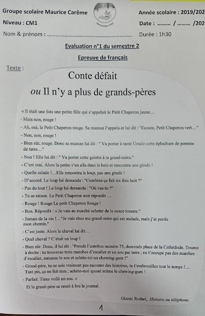 evaluation n1 du semestre 2 epreuve de francais cm1