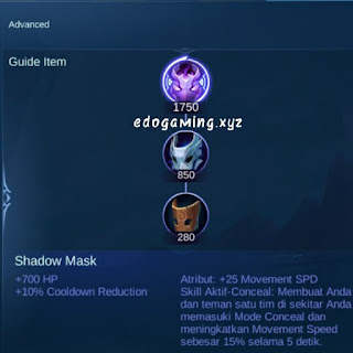 penjelasan lengkap item mobile legends item shadow mask
