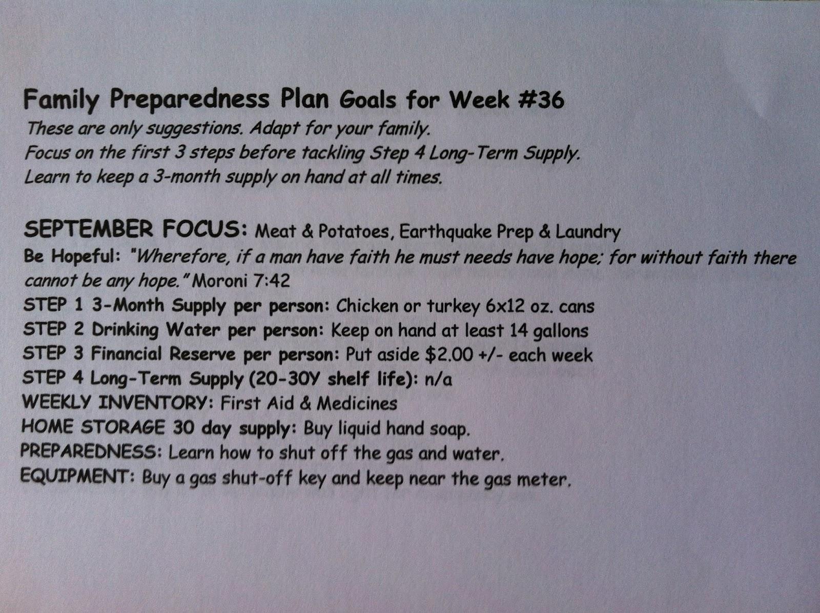 Sample Printable Family Preparedness Plan For Lds Ward Newsletters