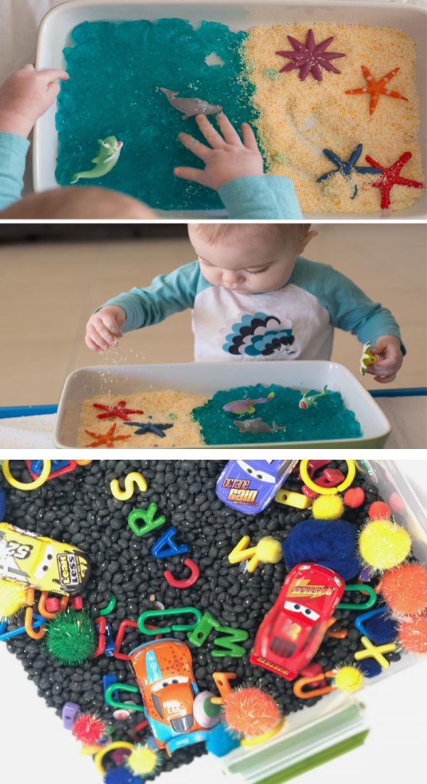Tons of fun & creative sensory bins for kids!  Love these ideas! #sensoryactivitiestoddlers #sensorybins #sensoryprocessingdisorder #sensorybinideas #sensorybinfillers #growingajeweledrose #activitiesforkids