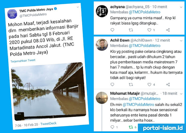 Akhirnya TMC Polda Metro Jaya MINTA MAAF Salah Posting Banjir Jakarta, Netizen: Cuma Minta Maaf? Kalau Rakyat Ditangkap