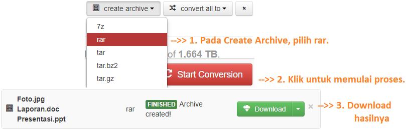 Mengubah file menjadi rar secara online
