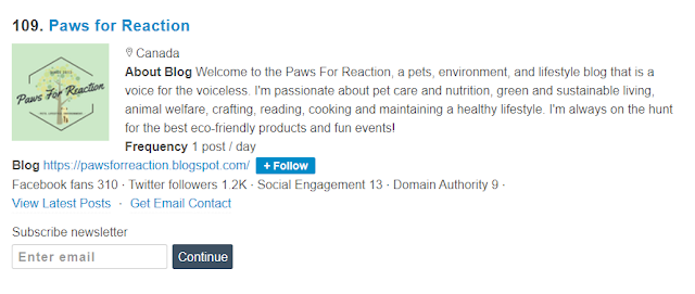 Paws For Reaction top pet blog list