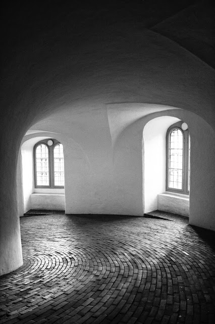 Photograph Black and White Dutch Round Circular Curved Tower in Copenhagen
