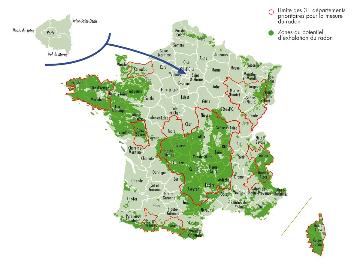 Areas Of France Map.French Property Blog Radon A New Diagnostic Report