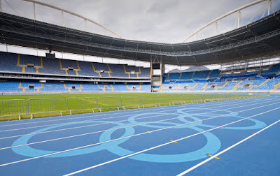 Light Blue Colored Olympic Rings Painted at Running Track of Rio