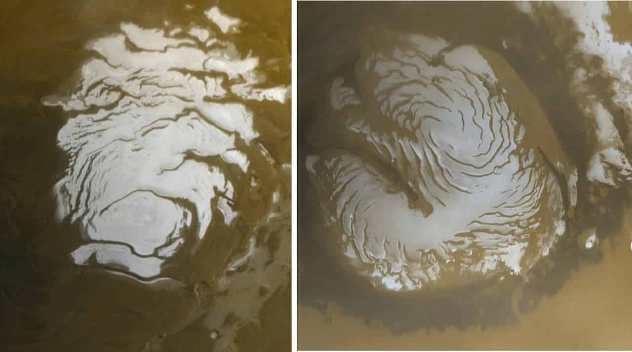 South and North polar ice caps of Mars