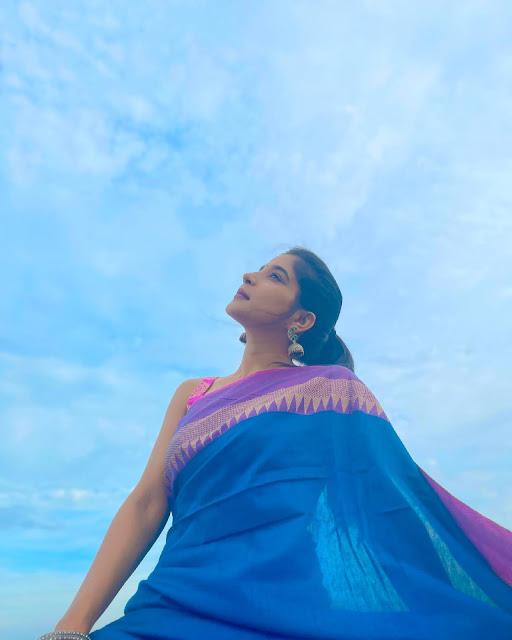 Actress Sakshi Agarwal Blue and Violet Saree Sexy Pictures Actress Trend