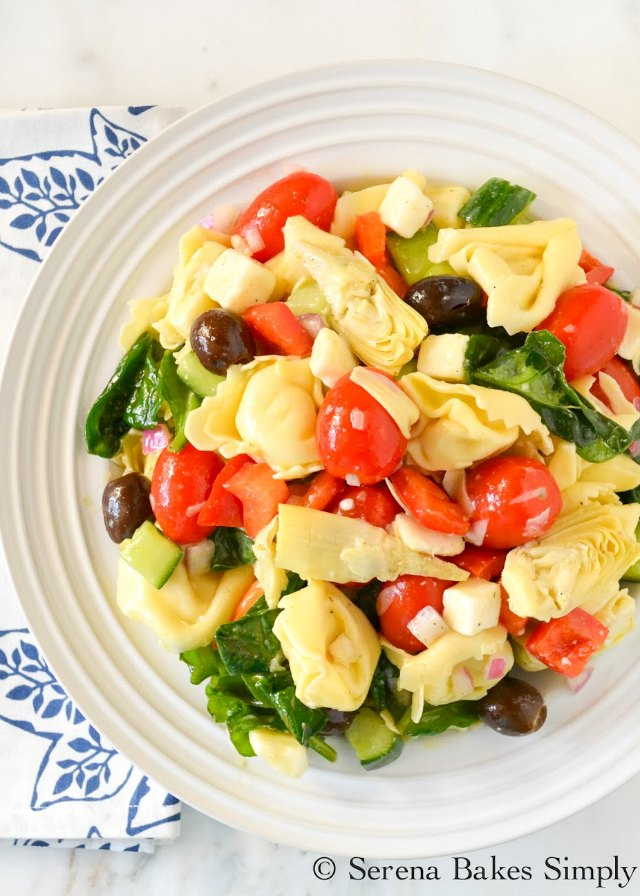 Italian Tortellini Pasta Salad is a favorite as a main dish or side from Serena Bakes Simply From Scratch.