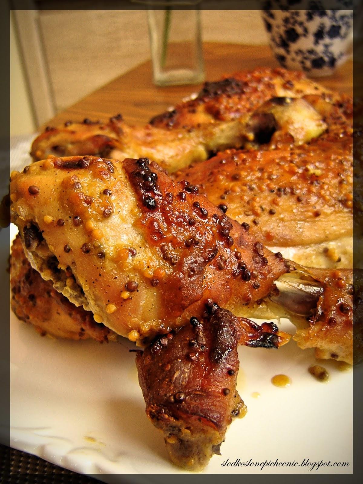 Kurczak w miodowo-musztardowej marynacie