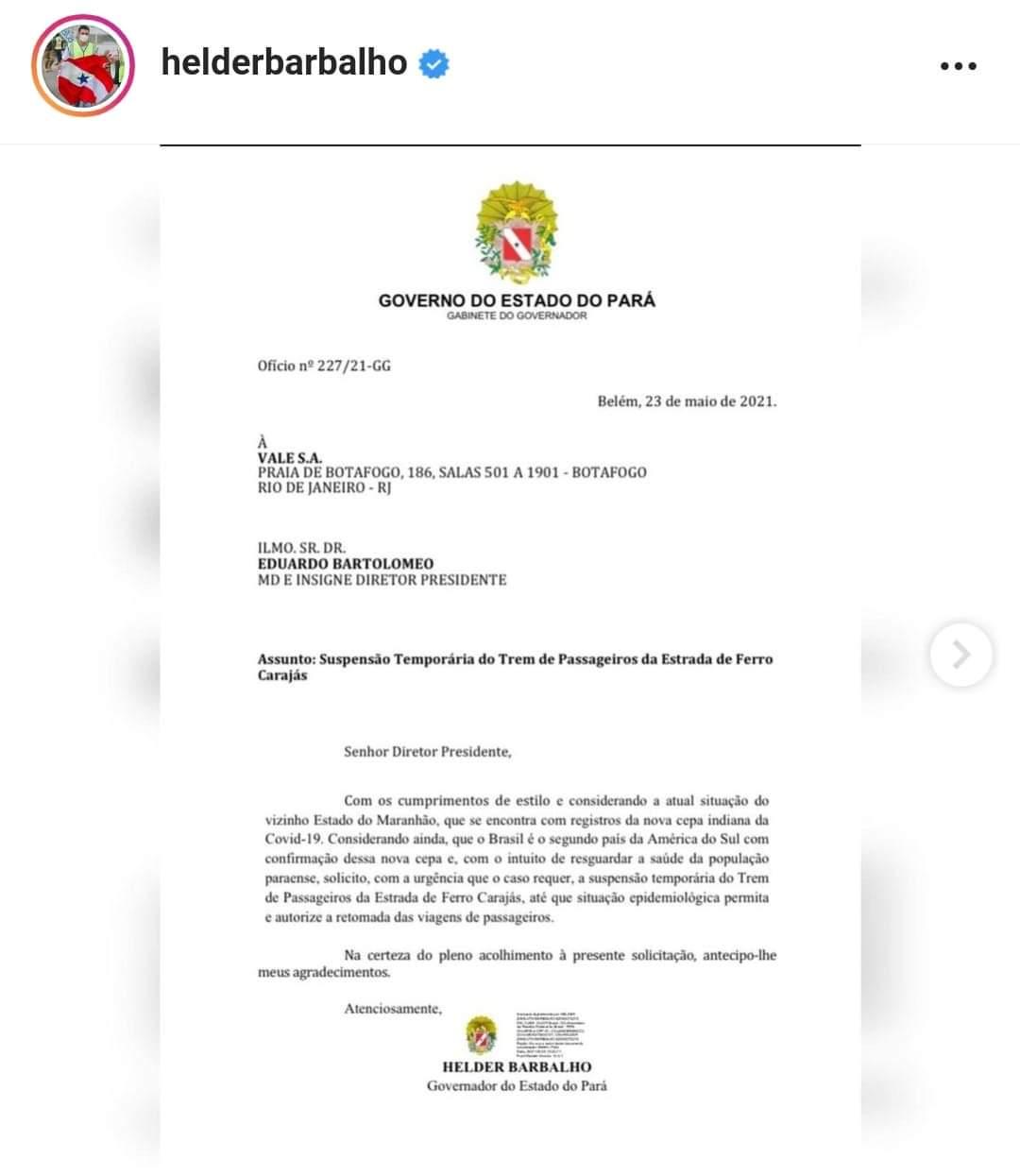 Hélder envia ofícios para cobrar medidas de prevenção contra a variante indiana da covid-19 no Pará.