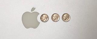 Apple Logo eating 3 dimes like Pac-man
