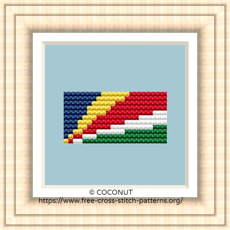 NATIONAL FLAG OF SEYCHELLES CROSS STITCH CHART