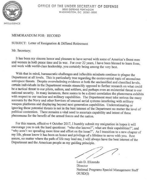 resignation Luis Elizondo revela que el gobierno de los EEUU estudia los ovni y no solo hay una sola oficina haciendolo