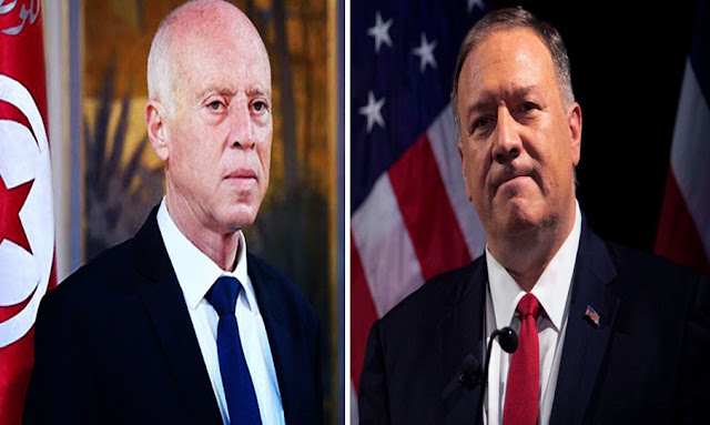 Tunisia-President Kais Saied talks with U.S. Secretary of State Mike Pompeo