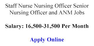 Staff Nurse Nursing Officer Senior Nursing Officer and ANM Jobs