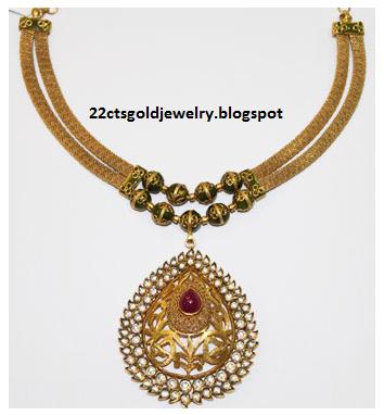 Gold Jewellery Designs: Malabar Antique Gemstone Necklace