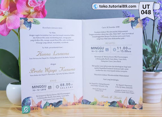 Undangan pernikahan UT048 - Seimpel Lipat 2 +free kartu ucapan terima kasih