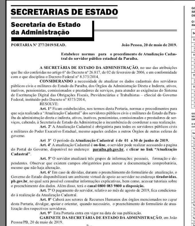 GOVERNO DA PARAÍBA: 45,2 mil servidores da Paraíba podem ter salários bloqueados.