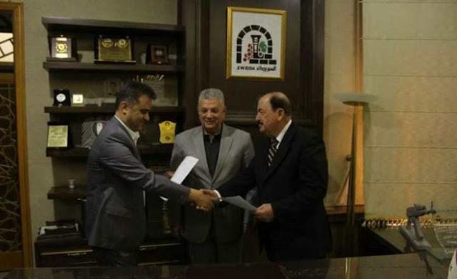 توقيع ملحق عقد شركة عصير الجبل بالسويداء.