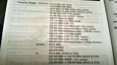 Frekuensi kerja HT Yaesu VX-7R.