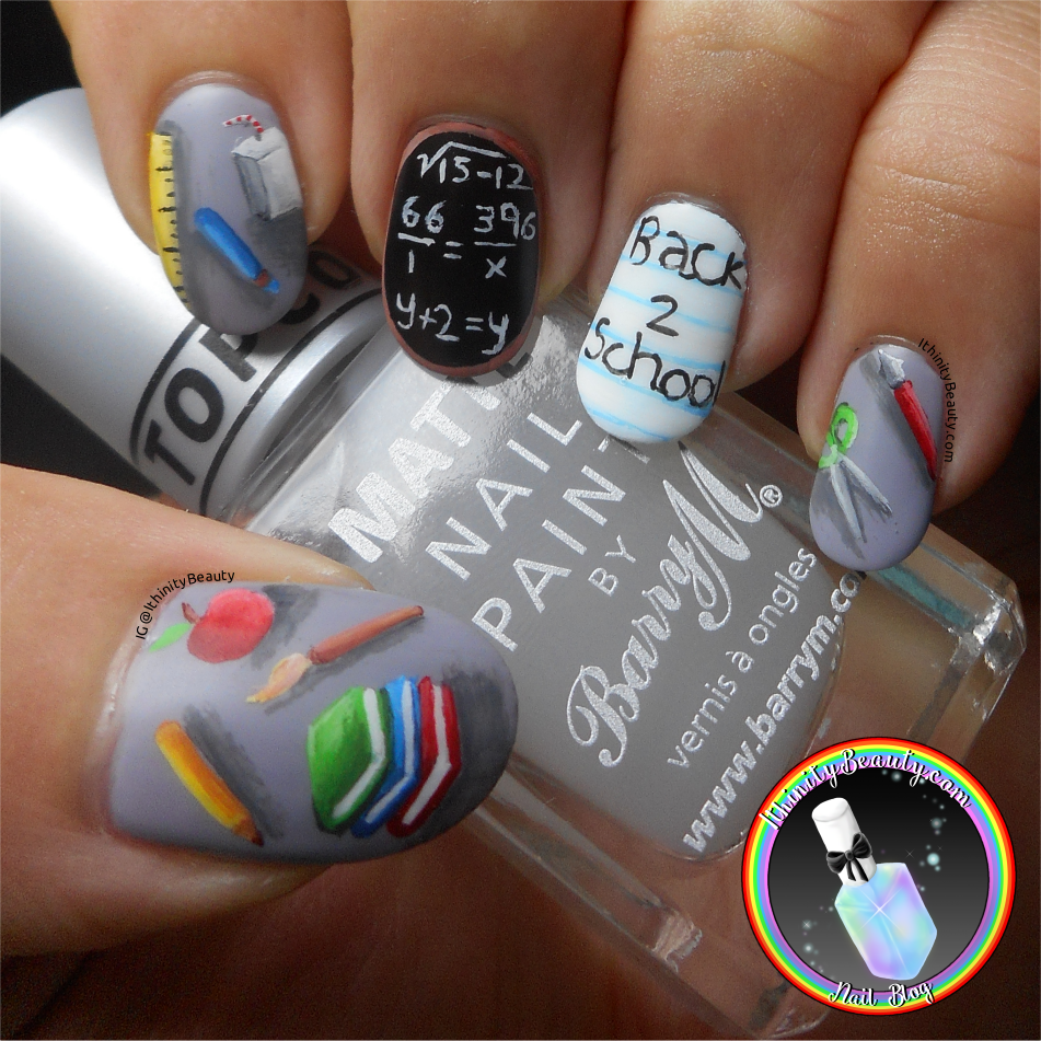 Freehand Back To School Nail Art | IthinityBeauty.com Nail Art Blog