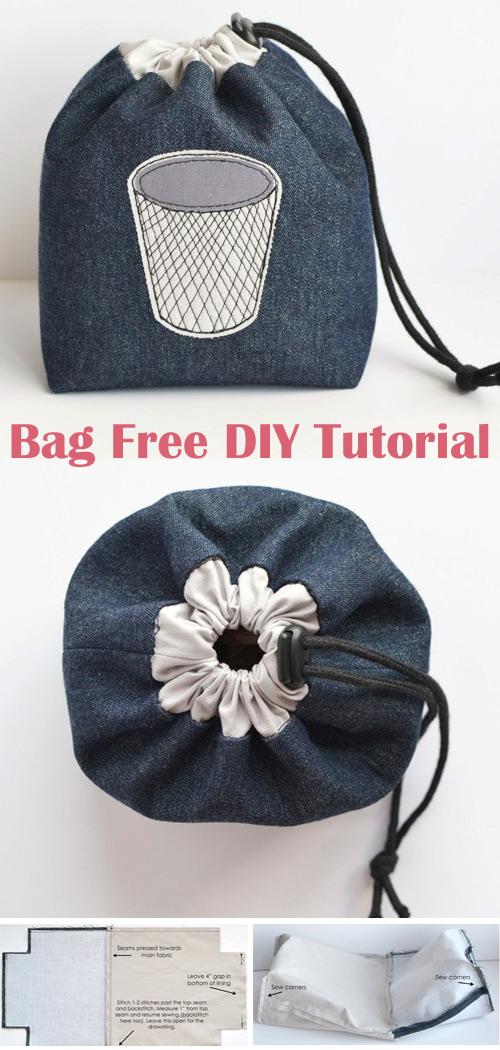 Drawstring Bag. DIY Free Tutorial Sewing