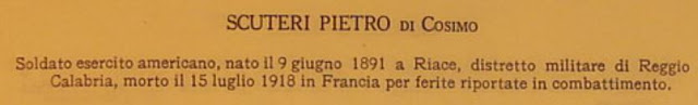 An Italian website lists the fallen soldiers of World War I. This one happens to be an American soldier born in Italy.