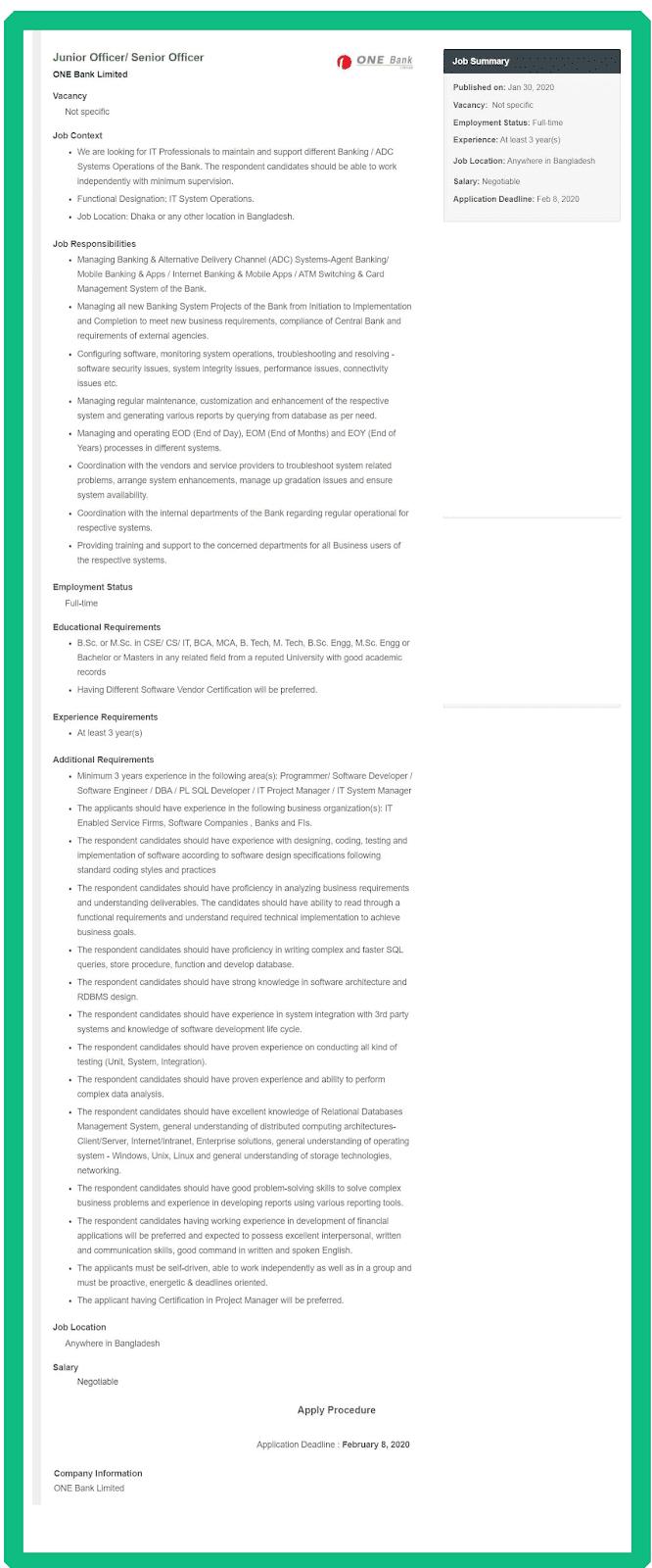 One Bank Ltd Job Circular 2020