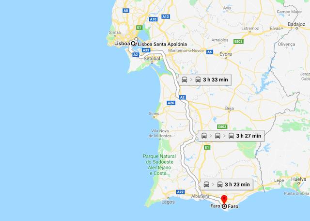 Mapa do trajeto de trem de Lisboa a Faro