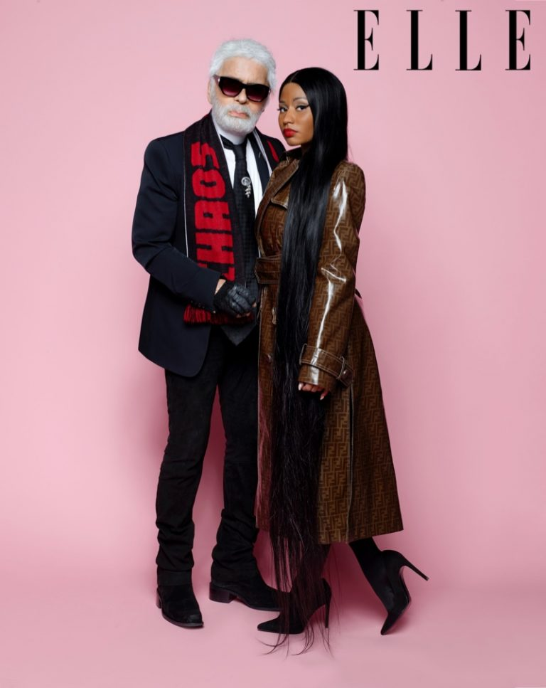 Posing with Karl Lagerfeld, Nicki Minaj wears Fendi coat and Stuart Weitzman pumps