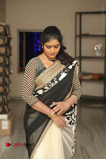 Telugu Actress Jayavani Jayavani Stills in Black Saree at Intlo Deyyam Nakem Bhayam Success Meet  0015.JPG