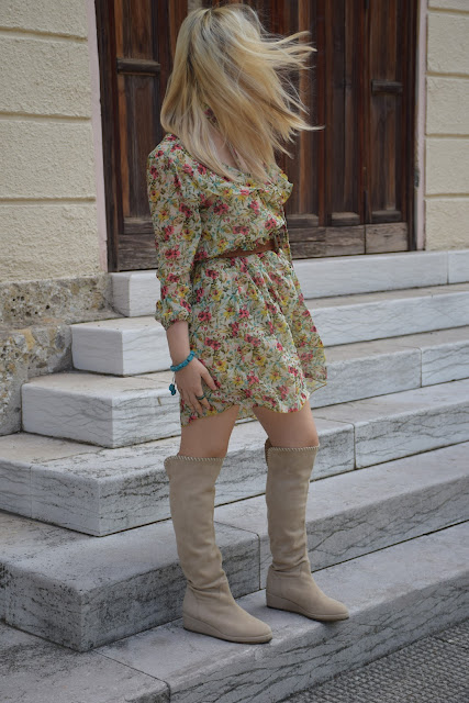 boots and spring dress mariafelicia magno fashion blogger color block by felym fashion bloggers italy italian fashion bloggers may outfit