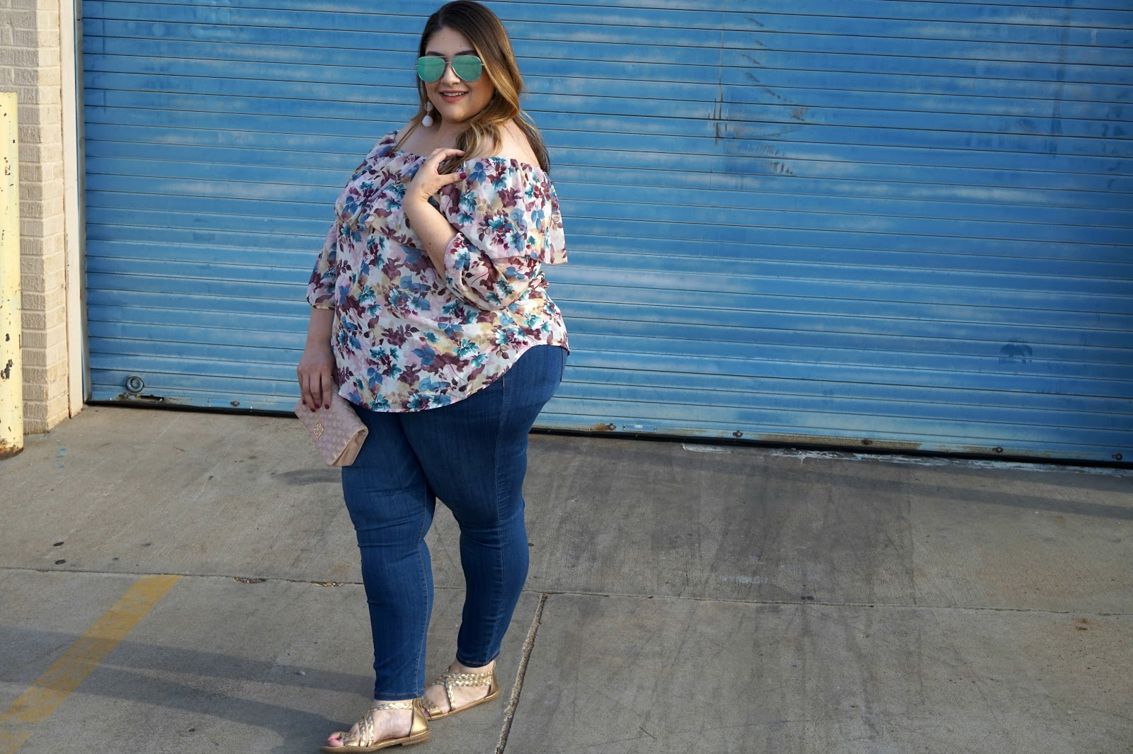 Off The Shoulder Floral Plus Size Blouse | Easy & Cute Plus Size Outfits | Dia & Co Plus Size Clothing Subscription | Plus Size Outfits // Beauty With Lily, A West Texas Beauty, Fashion & Lifestyle Blog