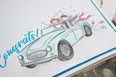 This handstamped wedding card was created using the Fun Stampers Journey Happy Couple ATS stamp set, and the Journey Color Splash pencils to watercolor in the image.