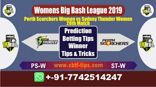 Who will win Today WBBL 2019, 28th Match STW vs PSW 28th, WBBL T20 2019