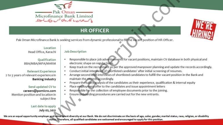 careers@pomicro.com  - Pak Oman Microfinance Bank Limited Jobs 2021 in Pakistan