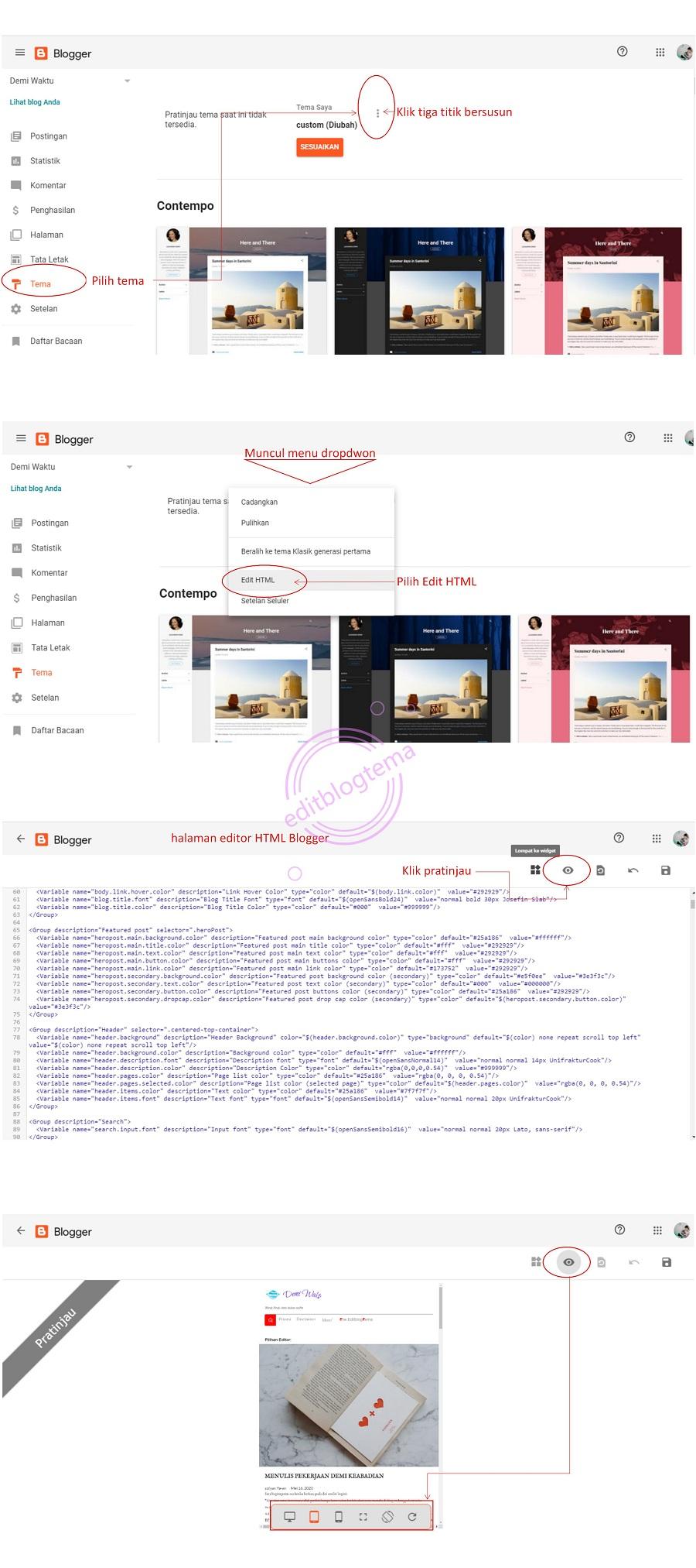 petunjuk mengakses edditor HTML blogger