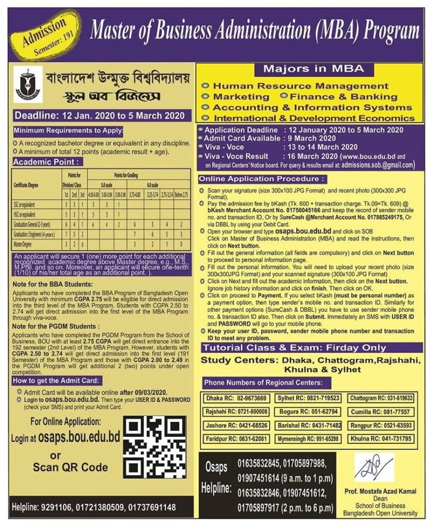 Bangladesh Open University MBA Admission Circular Result 2020