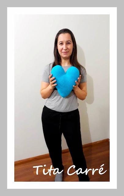 Almofada Coração Azul