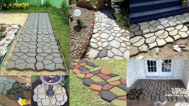 DIY Τσιμεντένια μονοπάτια - διαμορφώσεις κήπου με καλούπι