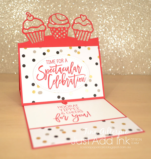 scissorspapercard, Stampin' Up!, Just Add Ink, Birthday Cheer Bundle, Broadway Bound DSP, Easel Card